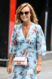 Amanda Holden in Blue Floral Dress at Global Radio in London 2020/06/04 10