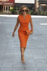 Amanda Holden in Orange Outfit at Global Radio Studios in London 2020/06/01 2