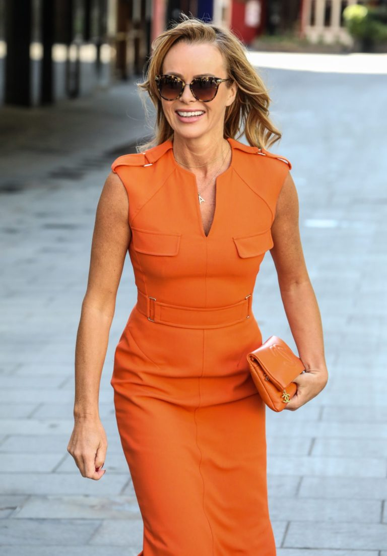 Amanda Holden in Orange Outfit at Global Radio Studios in London 2020/06/01 8