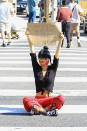 Bai Ling at Black Lives Matter Protest in Studio City 2020/06/03 2