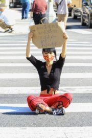 Bai Ling at Black Lives Matter Protest in Studio City 2020/06/03 9