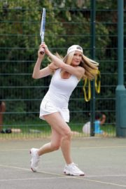 Caprice Bourret Playing Tennis in London 2020/06/05 10