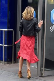 Charlotte Hawkins in a Red Dress and Leather Jacket at Global Radio in London 2020/06/05 1