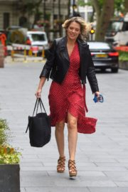 Charlotte Hawkins in a Red Dress and Leather Jacket at Global Radio in London 2020/06/05 2