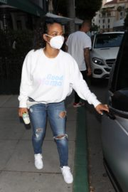 Christina Milian Wearing a Mask at Madeo Restaurant in Beverly Hills 2020/06/17 1