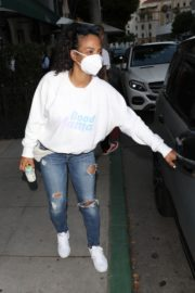 Christina Milian Wearing a Mask at Madeo Restaurant in Beverly Hills 2020/06/17 2