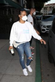 Christina Milian Wearing a Mask at Madeo Restaurant in Beverly Hills 2020/06/17 3