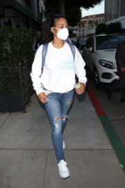Christina Milian Wearing a Mask at Madeo Restaurant in Beverly Hills 2020/06/17 5