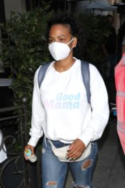 Christina Milian Wearing a Mask at Madeo Restaurant in Beverly Hills 2020/06/17 10