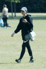 Christine Lampard Out with her Dog at a Park in London 06/09/2020 11