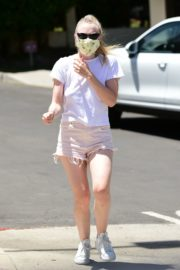 Dakota Fanning in Shorts Wearing a Mask Out in Los Angeles 2020/06/08 3