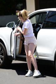 Dakota Fanning in Shorts Wearing a Mask Out in Los Angeles 2020/06/08 10
