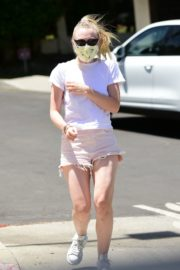 Dakota Fanning in Shorts Wearing a Mask Out in Los Angeles 2020/06/08 13