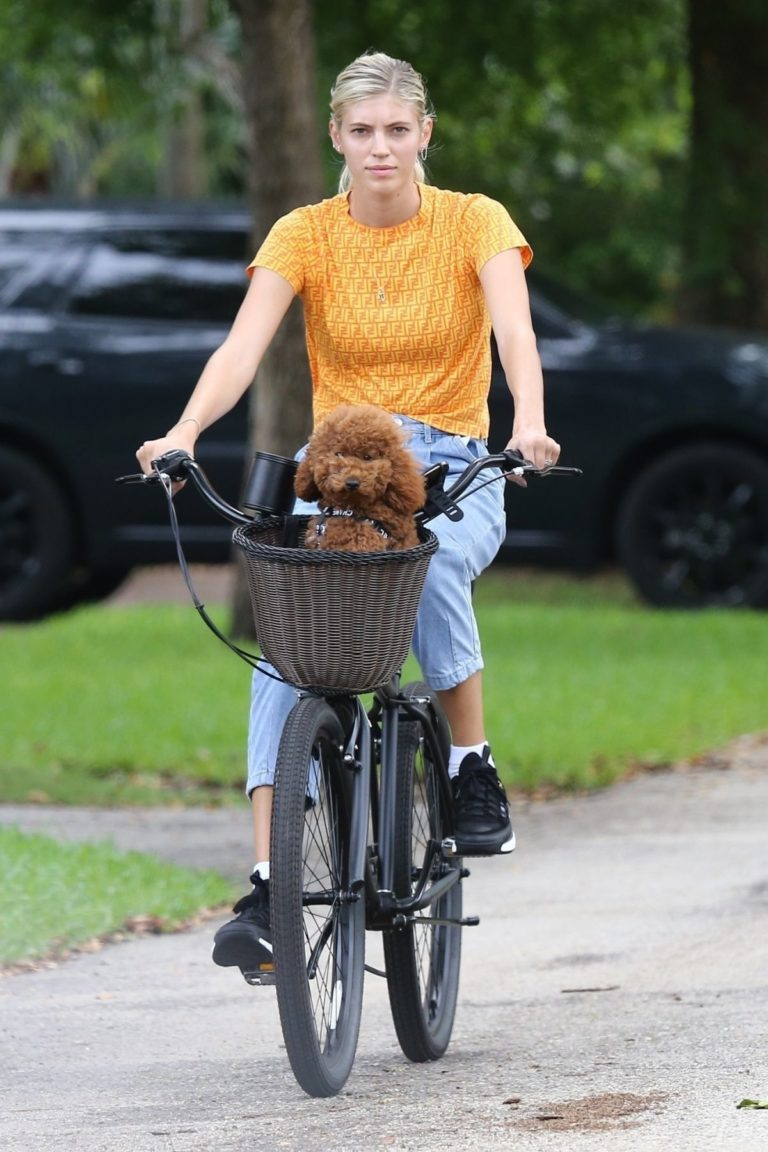 Devon Windsor Out Riding a Bike with Her Dog in Miami 2020/06/06 6
