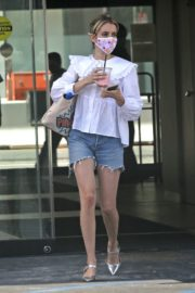 Emma Roberts in Denim Shorts Out in Los Angeles 2020/06/12 10