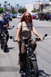 Emma Slater Riding a Bike Out in Studio City 2020/06/12 2
