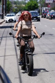 Emma Slater Riding a Bike Out in Studio City 2020/06/12 13