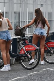 Georgia Steel and Elma Pazar in Daisy Dukes Out Riding Bikes in London 2020/05/31 2