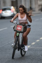 Georgia Steel and Elma Pazar in Daisy Dukes Out Riding Bikes in London 2020/05/31 3