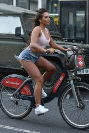 Georgia Steel and Elma Pazar in Daisy Dukes Out Riding Bikes in London 2020/05/31 5
