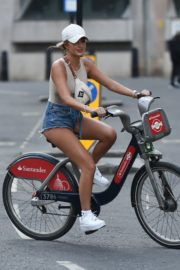 Georgia Steel and Elma Pazar in Daisy Dukes Out Riding Bikes in London 2020/05/31 7