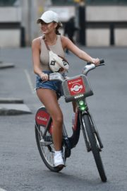 Georgia Steel and Elma Pazar in Daisy Dukes Out Riding Bikes in London 2020/05/31 10