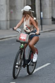 Georgia Steel and Elma Pazar in Daisy Dukes Out Riding Bikes in London 2020/05/31 13