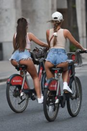 Georgia Steel and Elma Pazar in Daisy Dukes Out Riding Bikes in London 2020/05/31 18