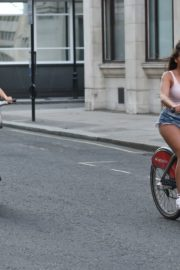 Georgia Steel and Elma Pazar in Daisy Dukes Out Riding Bikes in London 2020/05/31 20