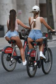 Georgia Steel and Elma Pazar in Daisy Dukes Out Riding Bikes in London 2020/05/31 22