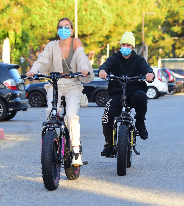 Hailey Bieber and Justin Bieber Out Riding Electric Bikes in Los Angeles 2020/06/14 16