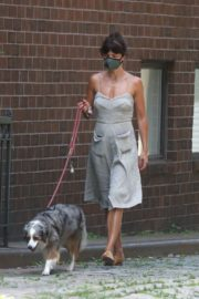 Helena Christensen Out with Her Dog in New York 2020/06/14 2