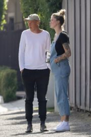 Ireland Baldwin in Denim Overalls Out in West Hollywood 2020/06/20 2