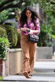 Jessica Gomes in Floral Purple Shirt Out and About in Los Angeles 2020/06/02 2
