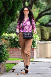 Jessica Gomes in Floral Purple Shirt Out and About in Los Angeles 2020/06/02 3