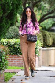 Jessica Gomes in Floral Purple Shirt Out and About in Los Angeles 2020/06/02 6