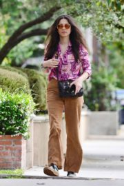 Jessica Gomes in Floral Purple Shirt Out and About in Los Angeles 2020/06/02 7