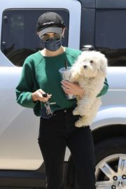 Lucy Hale and her Puppy Elvis at a Dog Park in Studio City 2020/06/04 4