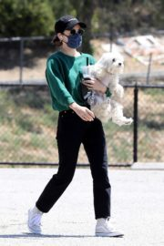 Lucy Hale and her Puppy Elvis at a Dog Park in Studio City 2020/06/04 6