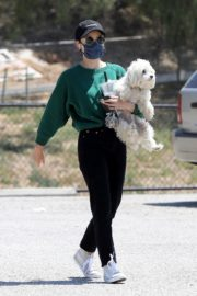 Lucy Hale and her Puppy Elvis at a Dog Park in Studio City 2020/06/04 7