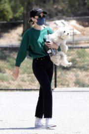 Lucy Hale and her Puppy Elvis at a Dog Park in Studio City 2020/06/04 10
