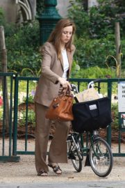 Melissa George Riding a Bike Out in Paris 2020/06/10 2