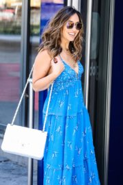 Myleene Klass in a Long Blue Dress Arrives at Global Radio in London 2020/06/01 2