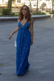 Myleene Klass in a Long Blue Dress Arrives at Global Radio in London 2020/06/01 9