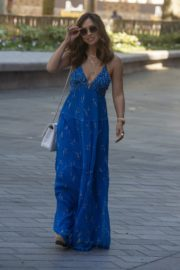 Myleene Klass in a Long Blue Dress Arrives at Global Radio in London 2020/06/01 10