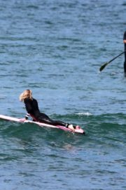 Robin Wright Surfing at a Beach in Malibu 2020/06/12 6