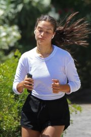 Shanina Shaik in White Full Sleeve Top and Black Shorts During Jogging 2020/06/02 7