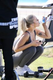 Tammy Hembrow Filming Her Fitness App at Mermaid Beach at Gold Coast 2020/06/04 1