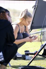 Tammy Hembrow Filming Her Fitness App at Mermaid Beach at Gold Coast 2020/06/04 2