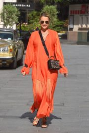 VOGUE WILLIAMS in a Orange Dress Leaves Global Radio in London 2020/06/07 6